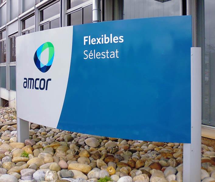 Relooking totem alu site industriel - EURHODE signalétique Strasbourg, Colmar, Mulhouse